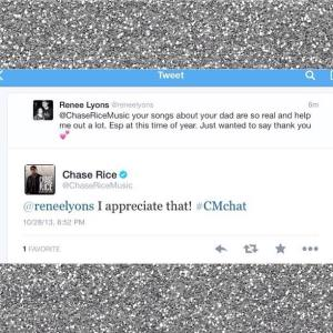 Here's a tweet from Chase to me that means the world to me. Just for him to know how much these songs mean to me is the best :)